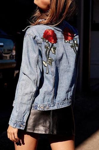 Flower Embroidered Denim Jacket Cover Ups
