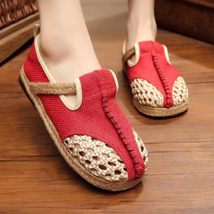 Breathable Linen Shoes Summer Hand-woven Mesh Shoes
