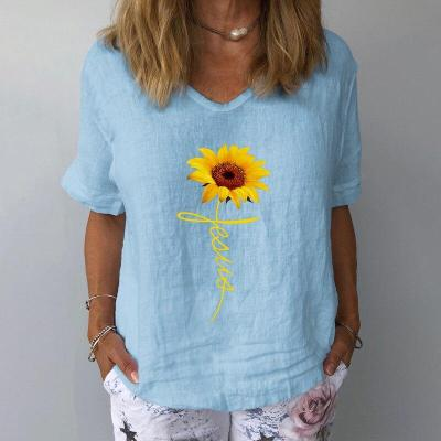 Floral Print Linen Cotton Shirt Summer V Neck Short Sleeve Blouse Female Casual Plus Size Ladies Tops and Blouses