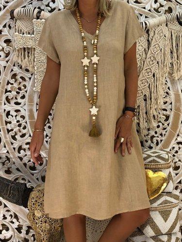 Women V-Neck Solid Summer Casual Dress