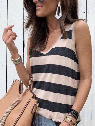 Black Casual V Neck Sleeveless Cotton-Blend Shirts & Tops