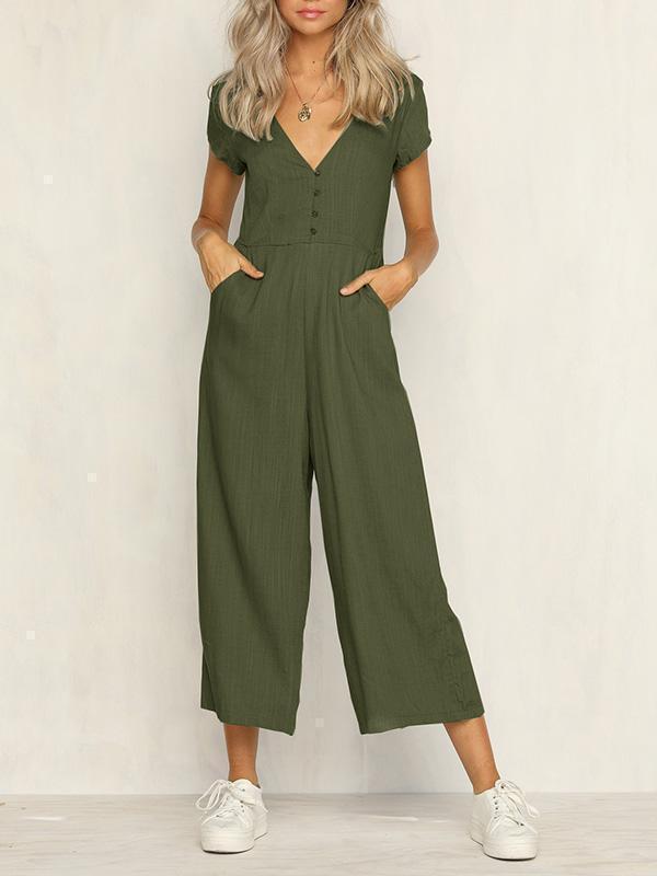 Casual Button Short Sleeve Jumpsuit