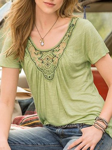 Green Holiday Cotton-Blend Patchwork Shirts & Tops