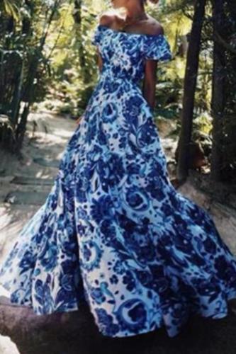 Fashion One Word Collar Printing Evening Dresses