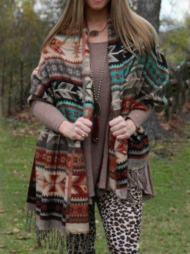 Fringed Boho Geometric Knitted Scarves & Shawls