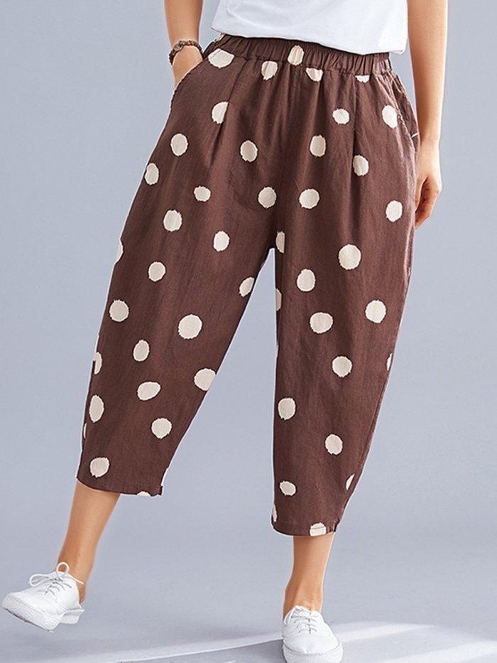 Women Polka Dots Casual Pants
