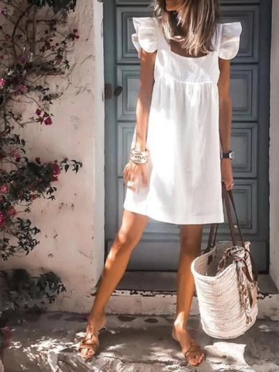 Ruffled Holiday Plain Dresses