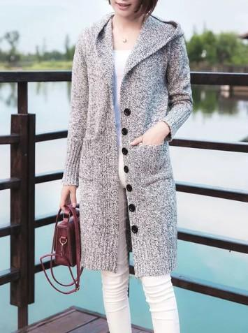 H-line Plain Casual Long Sleeve Buttoned Cardigan