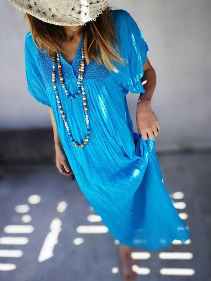 Blue Short Sleeve Cotton-Blend Dresses