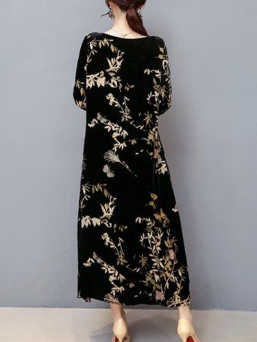 Women Casual Velvet Pockets Plus Size Printed Dress