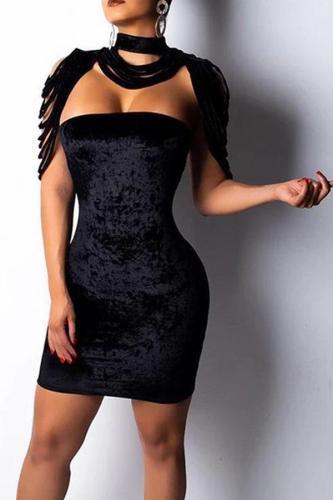 Fashion Velvet Tassel Hollow Out Bodycon Dresses