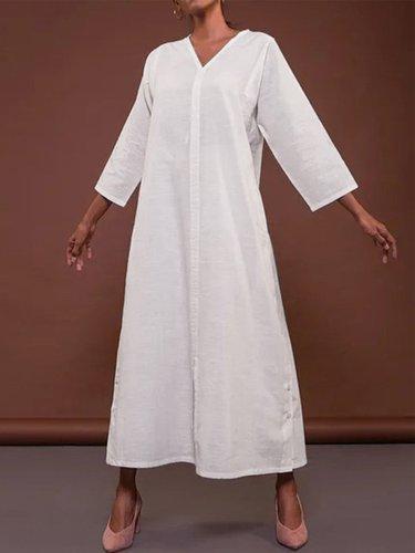 V Neck 3/4 Sleeve Dresses