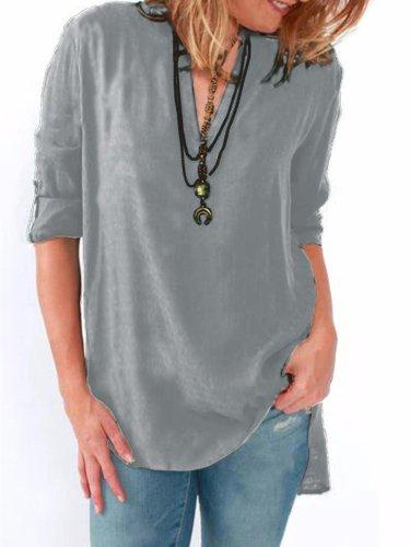 Dark Blue Basic Solid Polyester Blouses & Shirt