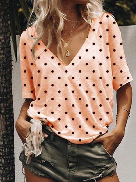 Short Sleeve V Neck Polka Dots Shirts & Tops