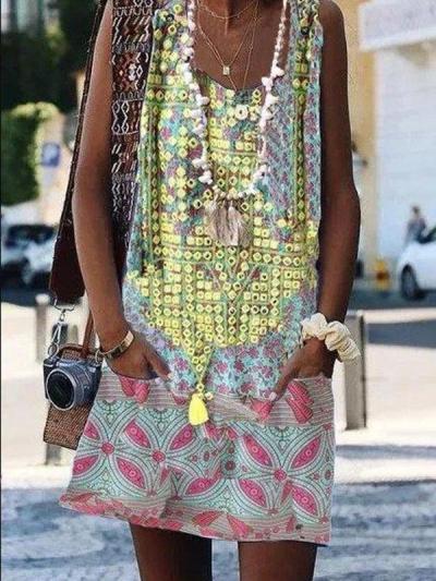 Casual Crew Neck Sleeveless Cotton-Blend Dresses