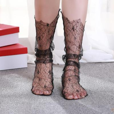 Hollow Mesh Middle Tube Transparent Socks Women's Retro Lace Socks