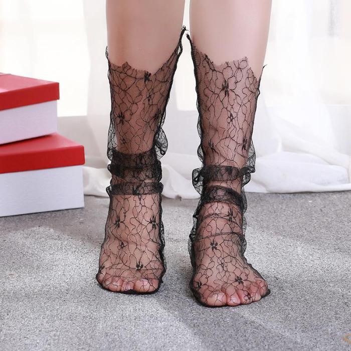 Hollow Mesh Middle Tube Transparent Socks Women's Retro Lace Socks