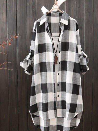 Plus Size Women Loose Long Sleeve Plaid Casual Jacket Shirt Tops