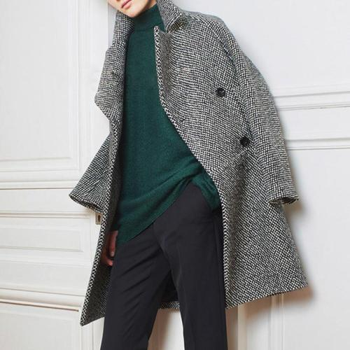 Stylish Long-Sleeved Plaid Lapel Coat