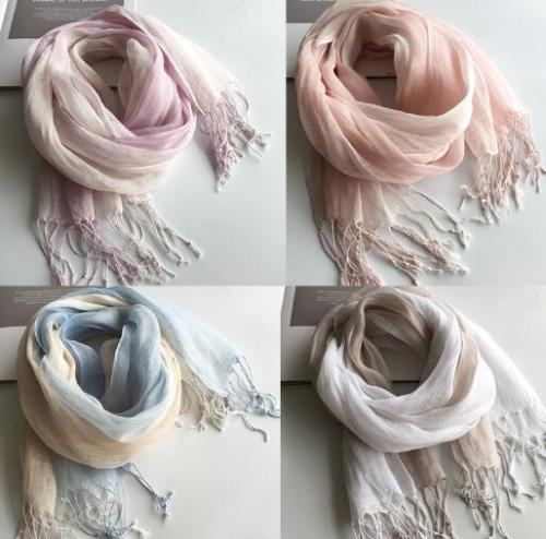 100% Linen Gradient Woman Spring Scarf Echarpe Muslim Hijab Foulard Shawls Tie Dye Scarves Women/Men Sjaal Scarfs for Ladies