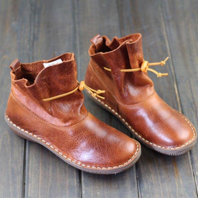 Women Comfy Slip-On Ankle Booties Vintage Flat Heel Boots