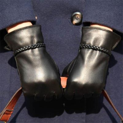 Women Gloves Fashion Genuine Leather Sheepskin Gloves Female Autumn Winter Warm Plush Lined Elegant Driving Mittens