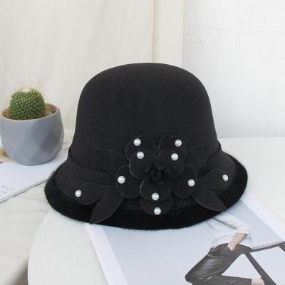 Woolen Fisherman Hat Ladies Autumn Winter Fashion Beaded Flower Felt Hat