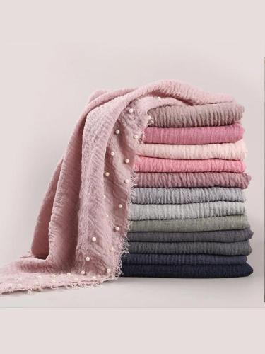 Cotton Pearl Accessories Headscarf Cotton And Crease Monochrome Female Scarf
