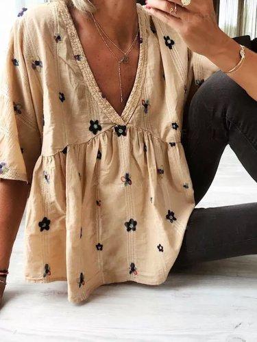 Khaki Casual Cotton-Blend Short Sleeve Shirts & Tops