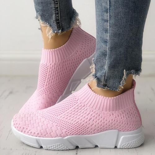 White All Season Elastic Cloth Sneaker