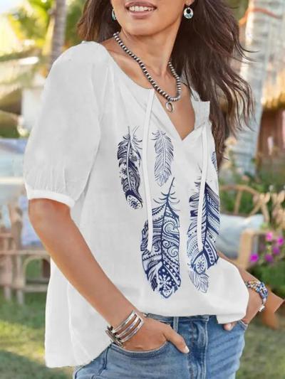 V Neck Short Sleeve Casual Printed Shirts & Tops