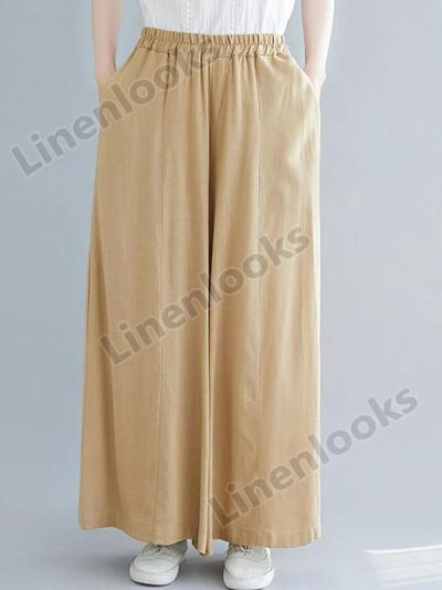Summer Cotton Linen Drape Wide Leg Pants Women Oversize High Waist Loose Trousers