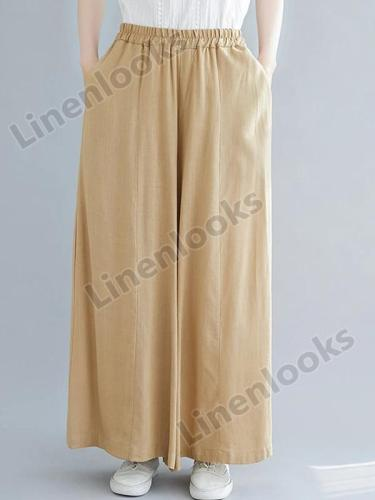 Summer Cotton Linen Drape Wide Leg Pants Women Oversize High Waist Loose Trousers