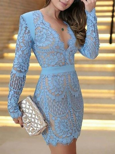 Fashion Lace Hollow Out Long Sleeve Evening Dress