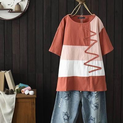 Short Sleeve Tunic Tops Vintage Shirt Robe Femme Patchwork Plus Size Cotton Linen Blouse 5XL
