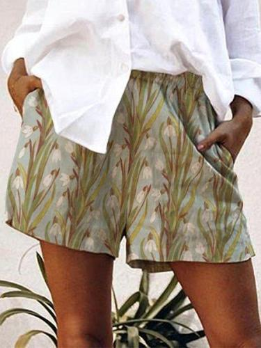 Floral-Printed Casual Shorts