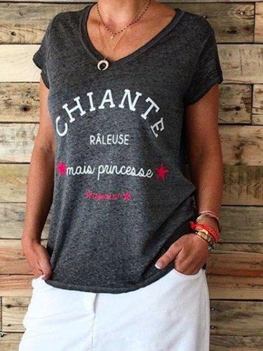 Black Cotton-Blend Casual Letter Shirts & Tops