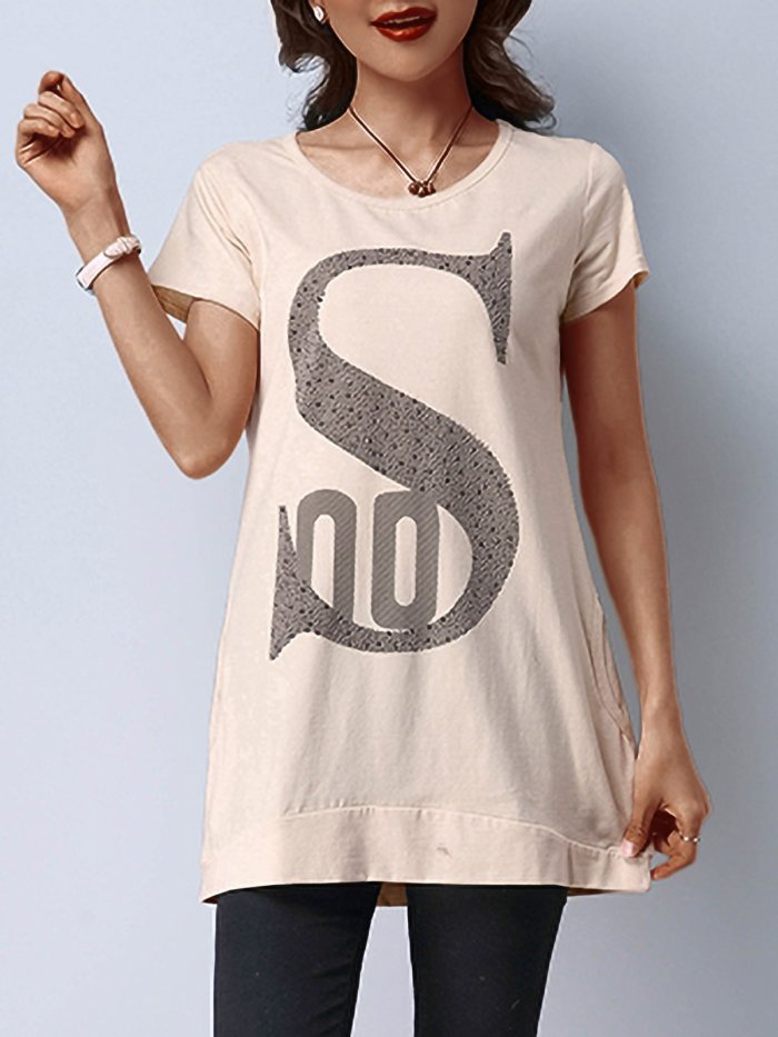 Plus Size Women Loose Cotton Letter Floral Short Sleeves Round Neck Casual Tops