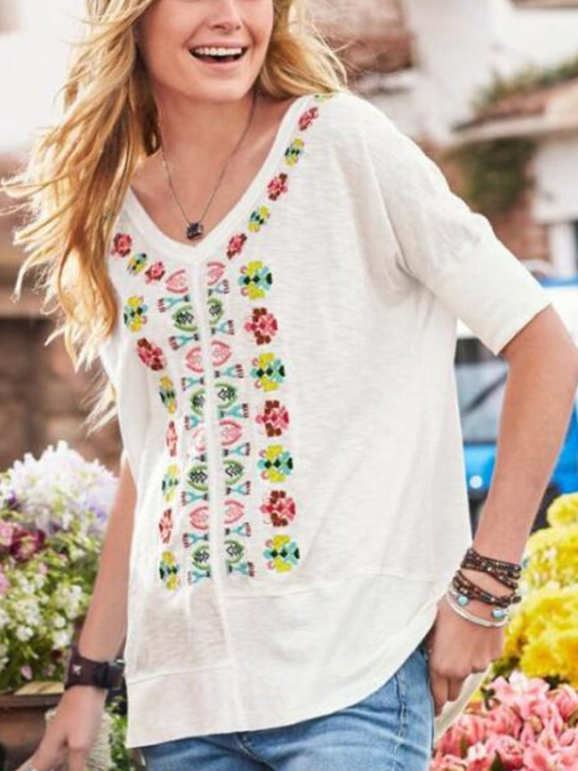 White Short Sleeve Printed V Neck Cotton-Blend Shirts & Tops