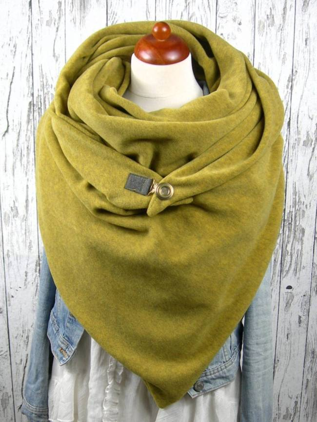 Mustard Casual Paneled Solid Cotton Scarves