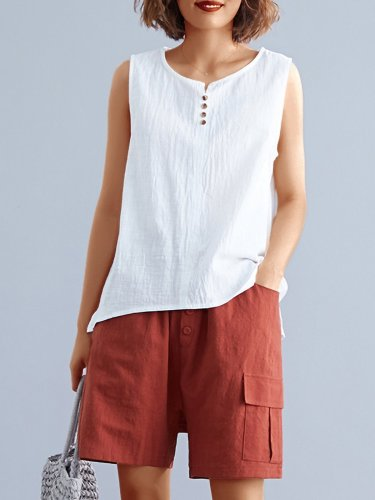 Women Solid Sleeveless Round Neck Loose Casual Vest Tops
