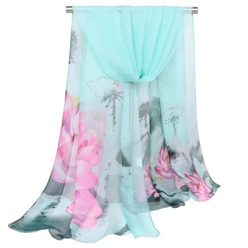 New Ladies Scarves Lotus Oil Painting Shawls Georgette Printed Silk Printed Flower Pashmina