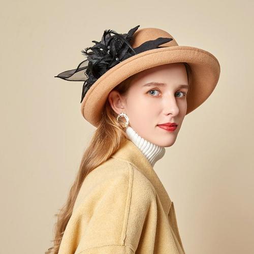 Autumn Winter Fashion Elegant Dome Ladies Woolen Hat Feather Mesh Gauze Flower Felt Hat