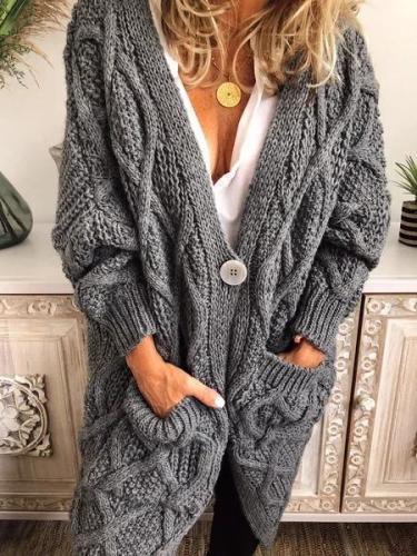 Casual Long Sleeve Plain Outerwear