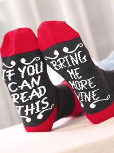 Black Cotton Letter Casual Socks