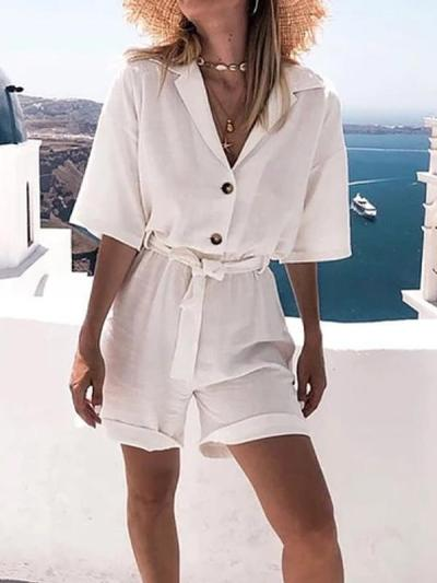 White Half Sleeve Solid Pants