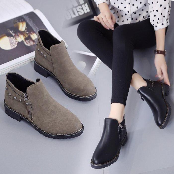 Khaki Spring/Fall Chunky Heel Zipper Boot