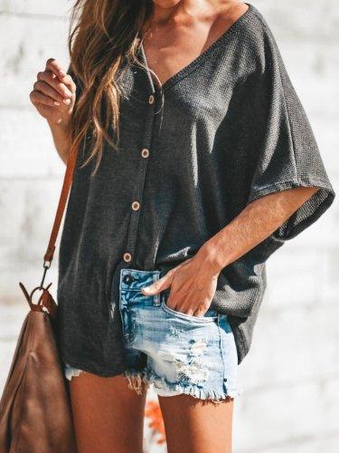 Black V Neck Solid Half Sleeve Shirts & Tops