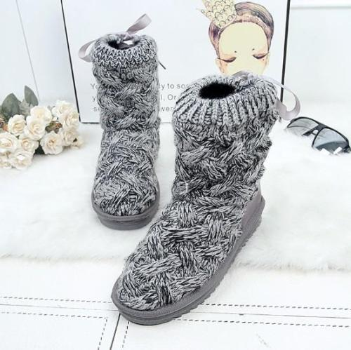 Women Braided Platform Knitted Fabric Winter Back Lace-up Daily Boots