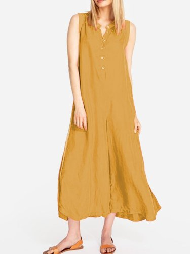 Solid Sleeveless Linen Dresses